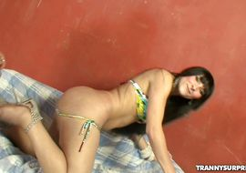 Playsome transsexual Luana Oliveira bends over in a doggy style position and gets his wazoo drilled with pecker