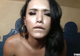 Chic transsexual Bianka Nascimento with great tits wanted to suck but he got more than he asked for