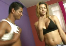 Mesmerizing golden-haired transexual Gisele Lemos got his tight bum stretched and fucked after he took off his clothes