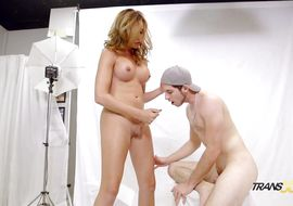 Cock loving remarkable tgirl Jonelle Brooks was deepthroating after his 1st date because he got super shlong