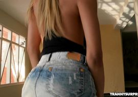 Topnotch blonde shemale Bianca Vitoria got fucked in the booty until he started screaming from pleasure