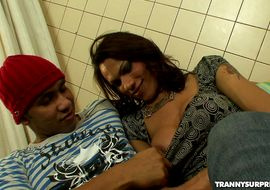 Knob deep up his bum is making extraordinary transsexual Mylla Pereira groan with pleasure