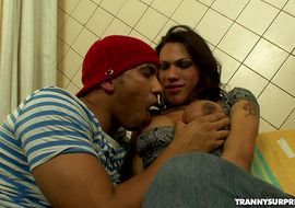 Appetizing ts Mylla Pereira is sucking dangler and getting drilled