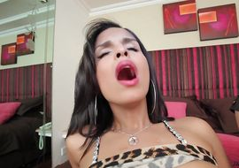 Wanton latin transsexual Jessi Martinez gets his bum and face hole pounded with solid dangler