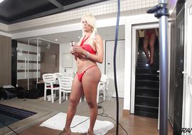 Delectable latin tgirl Rafaella Ferrari bows over so his tiny bum can be properly taken care of