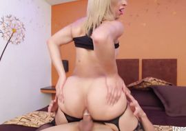 Chopper loving swingeing latina blonde shemale Daisy is deepthroating in front of the camera just 'cuz he likes it