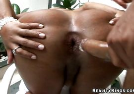 Appealing latina brunette Alexandra deepthroats and having anal invasion with big tool