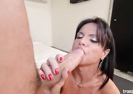 Lovable arse Gabriela Martins is sucking the biggest wang he has ever seen before getting bum fucked