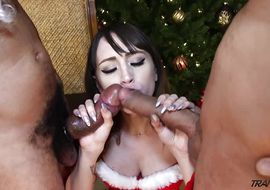 Tempting transexual Kylie Maria cant stop sucking a huge meat bazooka and getting bum fucked