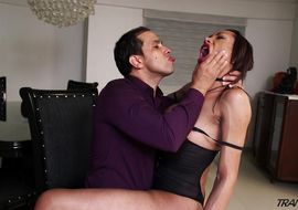 Sugary brown-haired ts Sammy Milat can't hold himself back from sucking shlong when he sees that it is hard