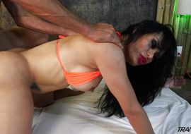 Insatiable latin transexual Lorey Richi got throatfucked previous to his tight bum got stufed wih a rock hard pole