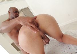 Lascivious ebony transsexual Cindy Too Much with firm tits got banged from the back because he likes it the most