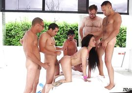 Sweet latin brunette Milagros Bejarano got a white love rocket up his bum until he had a very intense big o