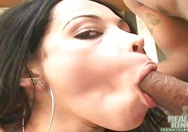 Playsome tgirl Isabelly Ferraz shows his tits to the camera and gets a chili dog up his a-hole