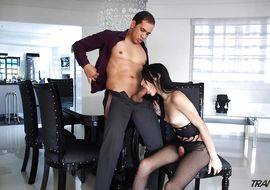 Divine latin transsexual Lana Davalos gets fucked hard from behind in the arse